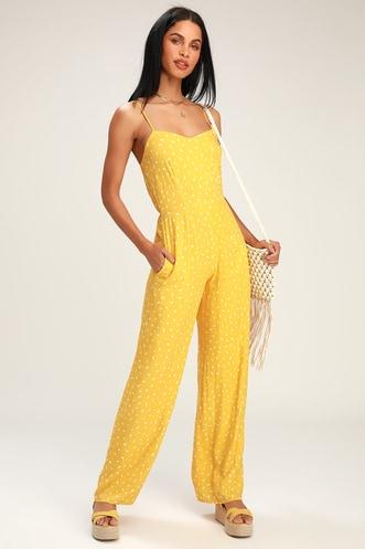 065c5238eef6 Shawnee Yellow Print Sleeveless Wide-Leg Jumpsuit