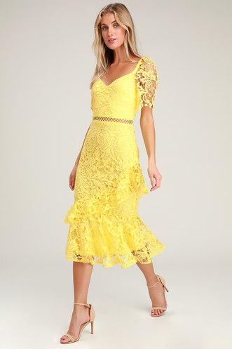 7dc945f89b32 Briarwood Yellow Lace Ruffled Midi Dress