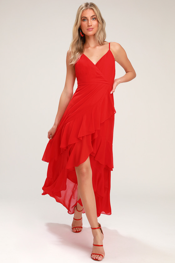 6cad1e98355 Lovely Red Dress - Red Ruffled Maxi Dress - Red High-Low Dress