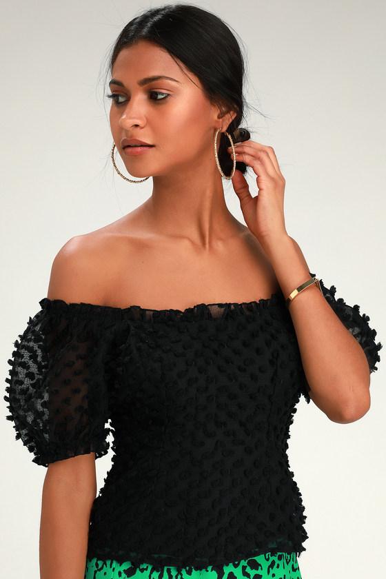 4acdca83f1ec1 Chic Black Top - Textured Top - Off-the-Shoulder Top - Office Top