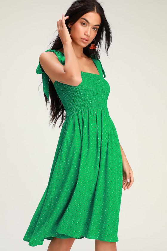 ae5467e6eb Cute Green Print Dress - Midi Dress - Smocked Dress - Dress