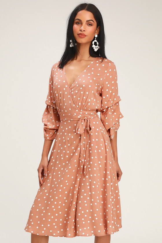 SOCIALITE RUSTY ROSE AND WHITE POLKA DOT WRAP MIDI DRESS