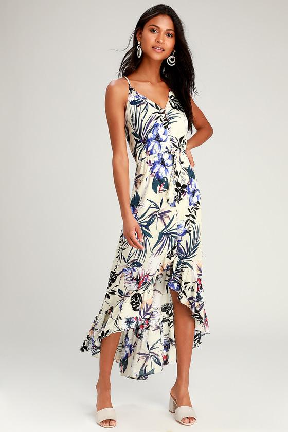 Retro Tiki Dress – Tropical, Hawaiian Dresses Pura Vida Ivory Tropical Print Button-Up High-Low Midi Dress - Lulus $37.00 AT vintagedancer.com