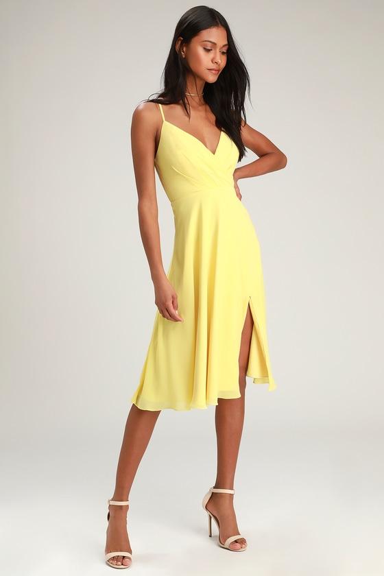 7d90abc8aa7d Pretty Yellow Dress - Surplice Midi Dress - Midi Dress