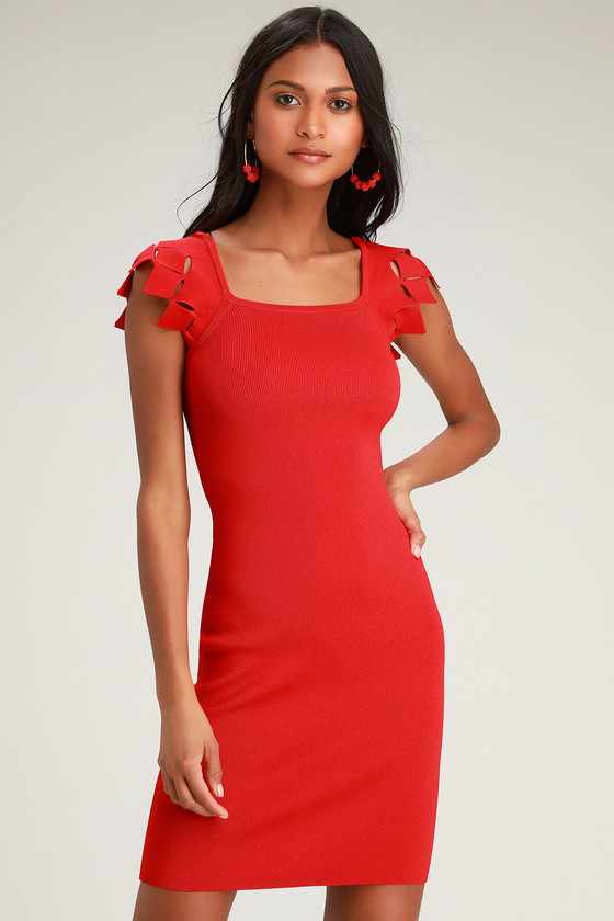 Tgif Red Cutout Bodycon Dress by Ali & Jay
