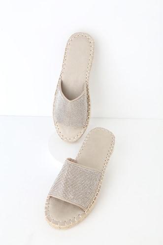 485009ee175b Maisie Anne Natural Rhinestone Espadrille Slide Sandals