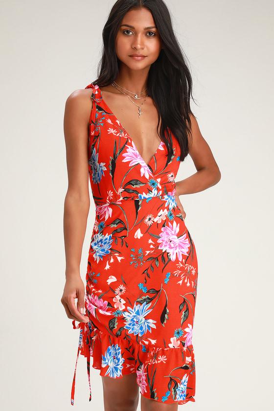 01e57d19d888 Ali & Jay Spicy Mami Dress - Red Floral Print Dress - Midi Dress