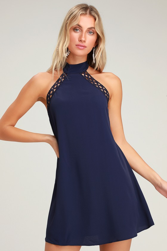 e5e7ee14ab851 Cute Navy Blue Dress - Lace Dress - Halter Dress