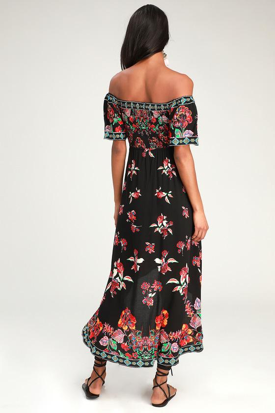 5778aa396d Cute Black High-Low Dress - Floral Print Dress - Smocked Dress