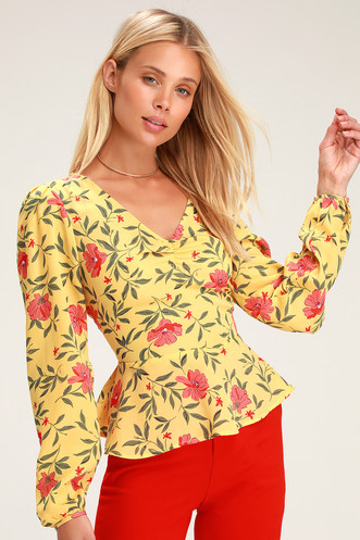 1322aeda57e164 Sprouts Honor Yellow Floral Print Long Sleeve Peplum Top