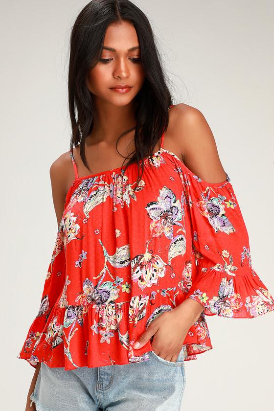 0ebb8a19ea7 Cute Floral Top - Red Floral Print Top - Cold Shoulder Top - Top