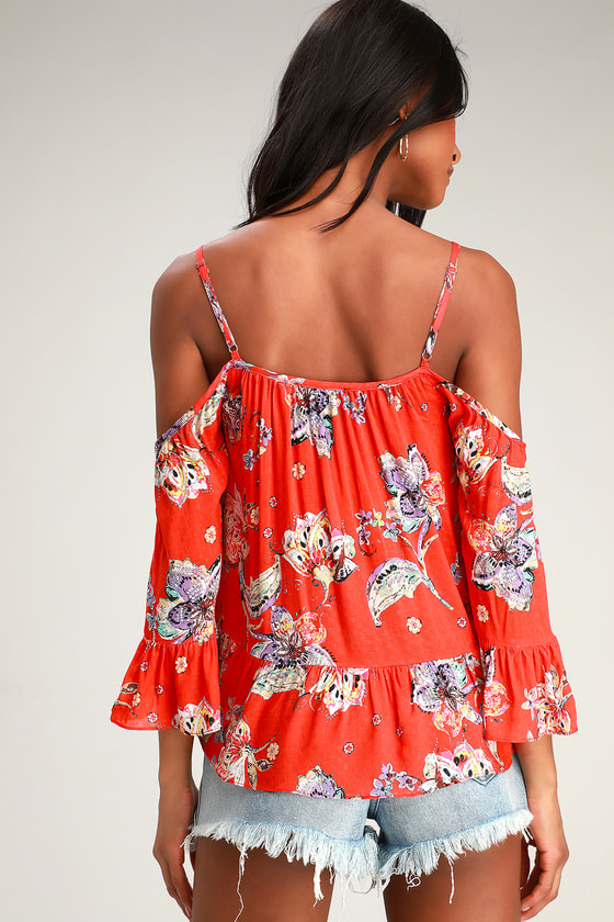 eecc979ac93e66 Cute Floral Top - Red Floral Print Top - Cold Shoulder Top - Top