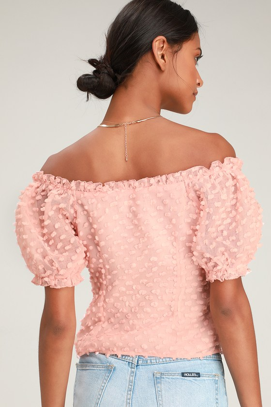 f11970430603a Chic Blush Pink Top - Textured Top - Off-the-Shoulder Top - Top