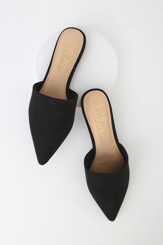 Black Suede Slides - Pointed Toe Slides