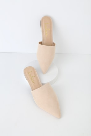 da66bd717e15 Chic Nude Suede Slides - Pointed Toe Slides - Pointed Toe Mules