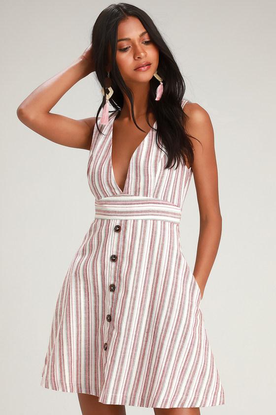 418845eb784e6 Striped Dress - Plunging Dress - Open Back Dress - Short Dress