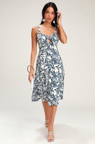f837acb49d4 La Paz Blue and White Leaf Print Tie-Front Midi Dress