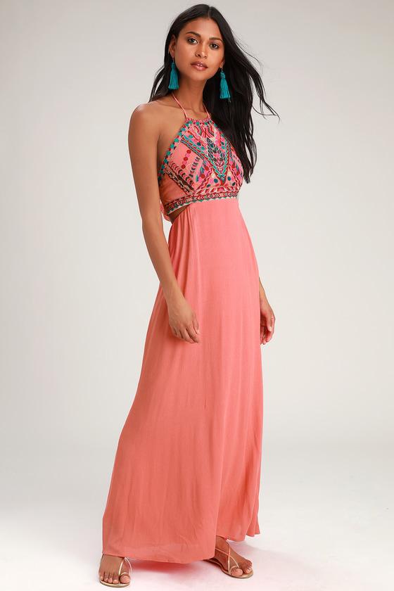 70s Dresses – Disco Dress, Hippie Dress, Wrap Dress Little Beach Coral Pink Embroidered Maxi Dress - Lulus $78.00 AT vintagedancer.com