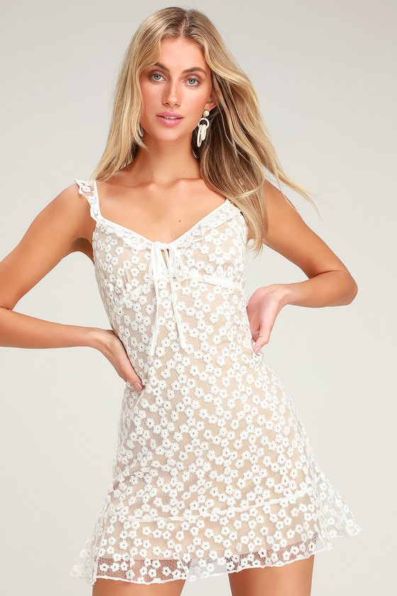 776f38610f4 Charmaine White Embroidered Mini Dress by Lulus