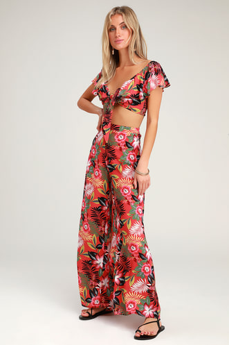 06f0f5ff1aa Passport to Paradise Coral Red Tropical Print Two-Piece Jumpsuit
