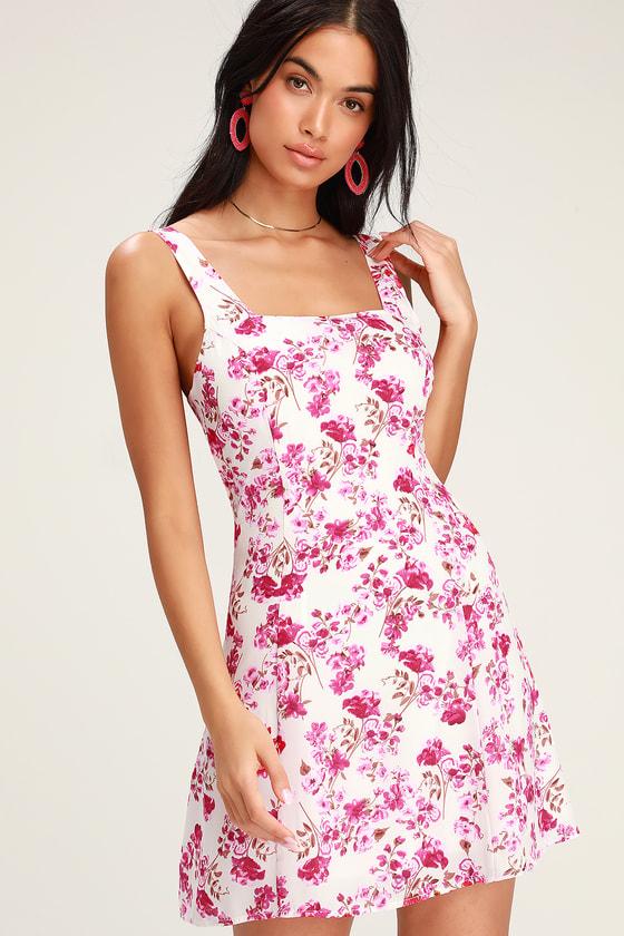 3c1c9bdd69eb Cute Pink Floral Dress - Floral Mini Dress - Tie-Back Dress