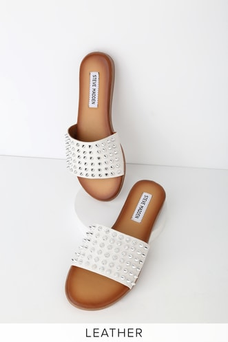 66df0588ebb1a Farryn White Leather Studded Slide Sandals