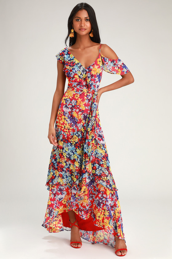 1ded03459da91 Pretty Red Floral Print Dress - Maxi Dress - Surplice Maxi Dress