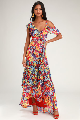 74717aed81215 Radiant Ruby Red Floral Print Chiffon Maxi Dress
