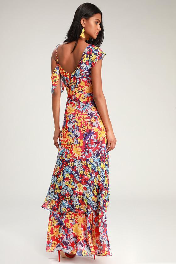 57e355015 Pretty Red Floral Print Dress - Maxi Dress - Surplice Maxi Dress