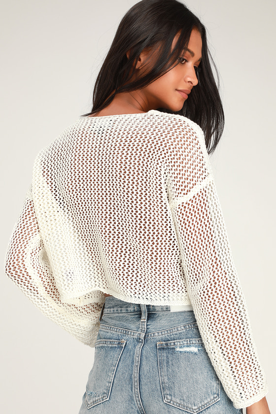 dc1b852df7ec83 Cute Ivory Crochet Top - V-Neckline Sweater - Light Sweater Top