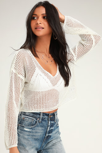 c56e7f10d7824 Captivating Calliope Ivory Crochet Long Sleeve Crop Top