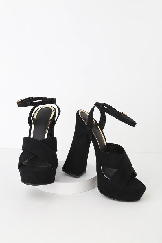 de008bef89c Brynlyn Black Suede Ankle Strap Platform Heels