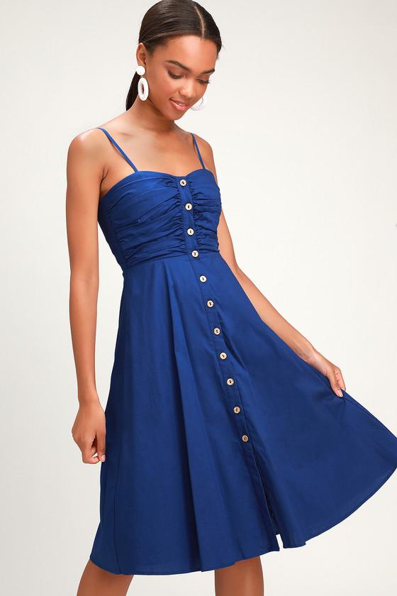 747d9cee01 Cute Royal Blue Dress - Midi Dress - Button-Up Midi Dress