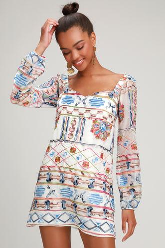 dd60d4a5f6fb Olvera Street White Multi Embroidered Mini Dress