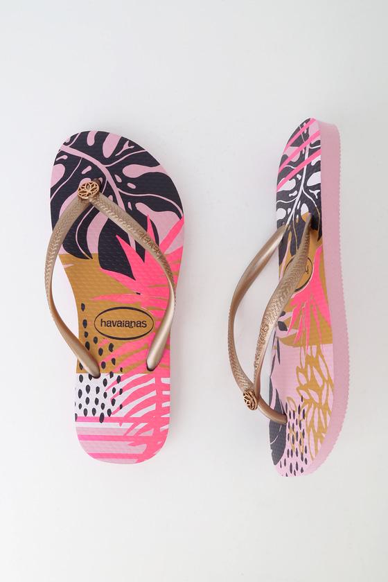 76bf6ddef62dd5 Havaianas Slim Foliage - Rose Quartz Flip Flops - Foam Flip Flops
