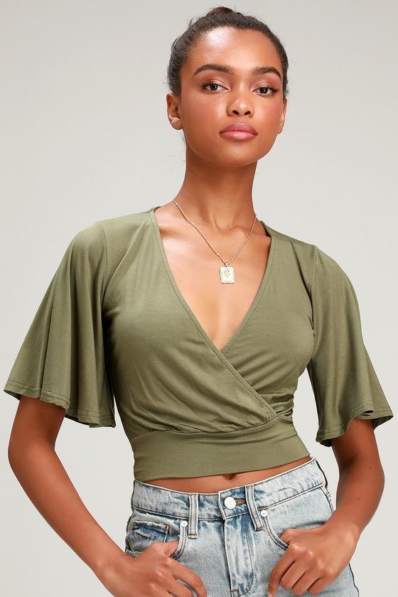 Mel Olive Green Short Sleeve Surplice Top by Lulus
