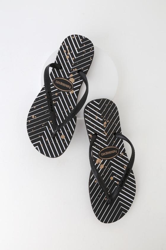 137de2905 Havaianas Slim Black - Chevron Flip Flops - Black Thong Sandals