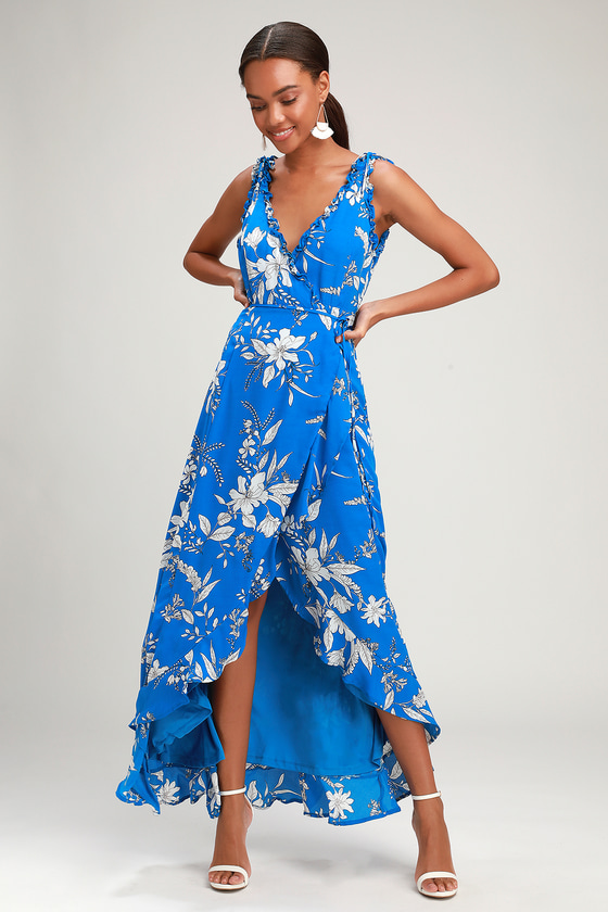 SUN SALUTATION ROYAL BLUE FLORAL PRINT RUFFLED WRAP MAXI DRESS
