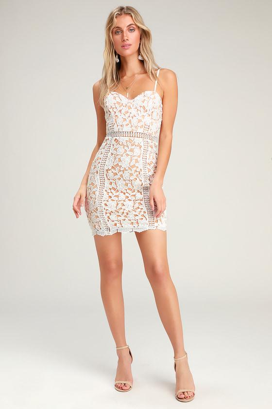 82d840b73c4e Lovely White Dress - Lace Dress - Sheath Dress