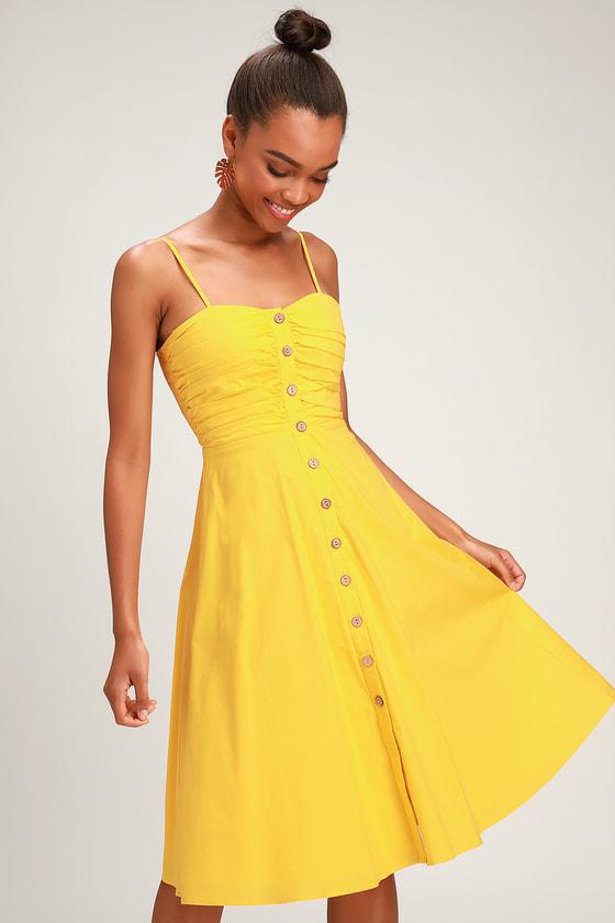d933d792648 Cute Golden Yellow Dress - Midi Dress - Button-Up Midi Dress