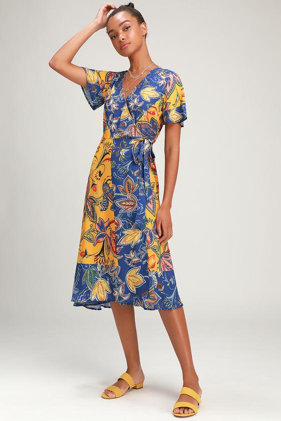 70s Dresses – Disco Dress, Hippie Dress, Wrap Dress Atlantis Blue and Yellow Print Wrap Midi Dress - Lulus $30.00 AT vintagedancer.com