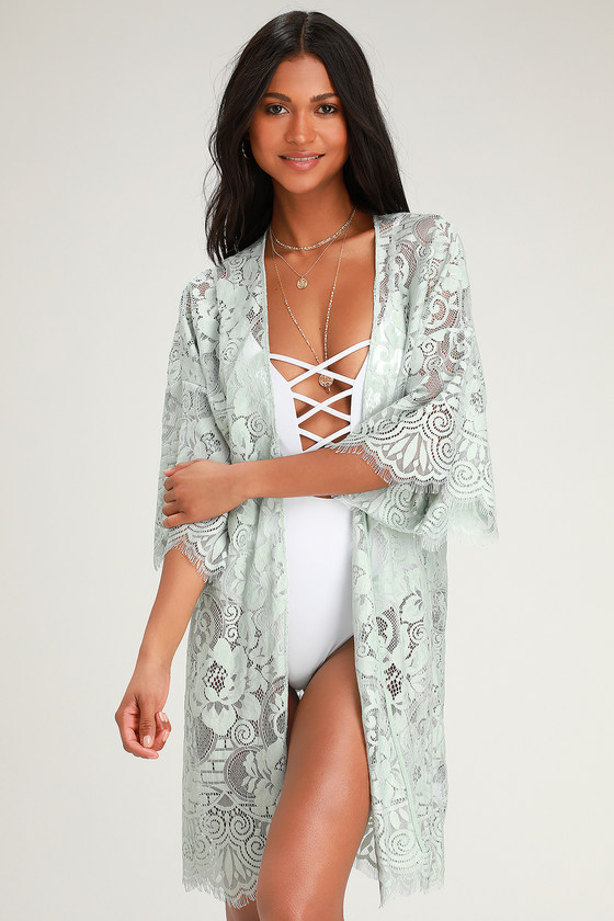 Jessamine Sage Green Sheer Lace Swim Cover-Up - Lulus