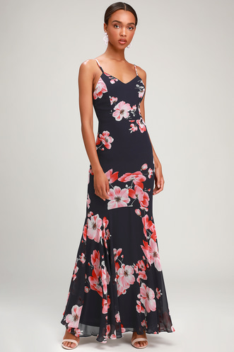 51af4ada5e70 Wandering Wendy Navy Blue Floral Print Maxi Dress