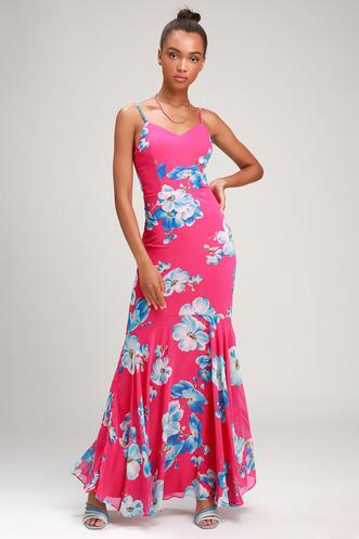 801db07e9b4 Wandering Wendy Magenta Floral Print Maxi Dress