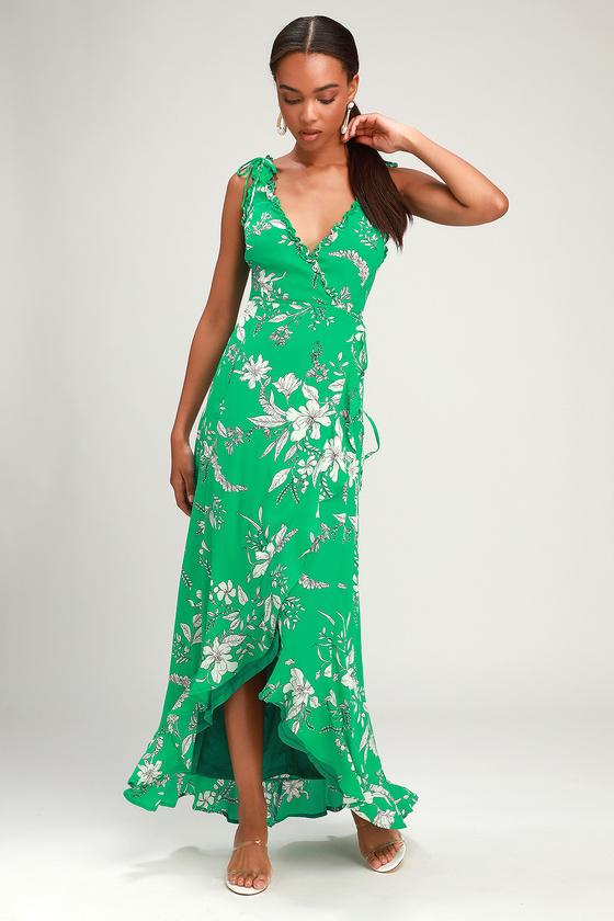 Sun Salutation Green Floral Print Ruffled Wrap Maxi Dress - Lulus