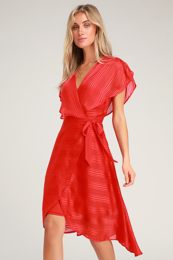 Lenita Red Striped Satin High-Low Midi Dress - Lulus