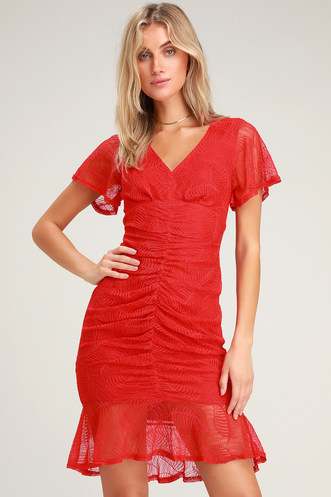 e53035fa224d Harlou Red Lace Ruched Bodycon Dress