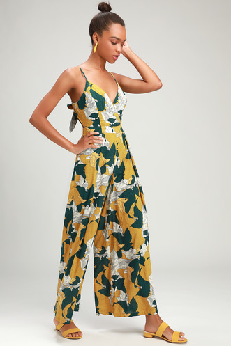 f8e45c635d8 Isla Mujeres Yellow Tropical Print Tie-Back Jumpsuit