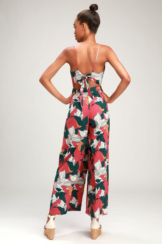 a0ab3d351a Chic Pink Jumpsuit - Tropical Print Jumpsuit - Floral Jumpsuit