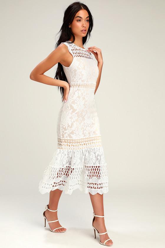 Charlee White Lace Sleeveless Midi Dress